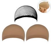 Frcolor 3pcs Wig Caps Nylon Mesh Wig Cap Netural Nude Beige and Black Mesh