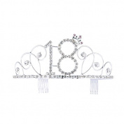 Frcolor Happy Birthday 18th Silver Crystal Tiara Crown