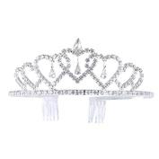 Frcolor Wedding Prom Bridal Tiara Crown Headband Crystal Heart Shape Princess Crown