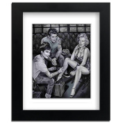 Big Art Shop - James Dean Tattoo - Street Art - professionally Framed art print with mount, Black, 18x14 inches / 46x35cm