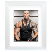 Big Art Shop - The Rock - Street Art - professionally Framed art print with mount, White, 18x14 inches / 46x35cm