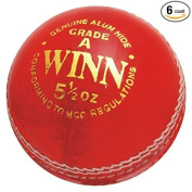 CW Cricket Leather Ball Winn (In Pack Of Six Balls) Red