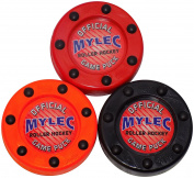 Mylec Roller Puck Variety 3 Pack Roller Hockey Pucks, Red/Orange/Black