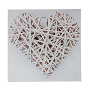 Square Canvas Print Wall Art ~ White Rattan Heart