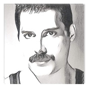 Startonight Canvas Wall Art Black and White Abstract Freddie Mercury Celebrity Prisma, Dual View Surprise Artwork Modern Framed Ready to Hang Wall Art 100% Original Art Painting 80 X 80 cm