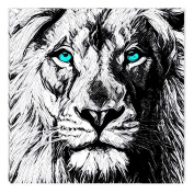 Startonight Canvas Wall Art Black and White Abstract Lion Draw Blue Eyes Animals Jungle, Dual View Surprise Artwork Modern Framed Ready to Hang Wall Art 100% Original Art Painting 80 X 80 cm