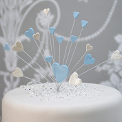 Hearts Cake Topper Decoration / Spray In Blue & Pearl White