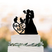 lesbian Wedding Cake topper with two cats Mrs and Mrs, same sex unique wedding cake topper funny, brides silhouette