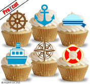 PRE-CUT NAUTICAL & SAILOR ACCESSORIES II. EDIBLE RICE / WAFER PAPER CUPCAKE CAKE DESSERT TOPPERS BIRTHDAY PARTY DECORATIONS