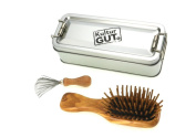 Exclusive Mini Hairbrush with olive wood brushes, including comb cleaner with metal bristles in functional metal box, metal box with hinged lid.