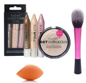 LyDia® Red Hot Pink Fluffy Flawless Face Makeup Brush + LyDia® Mini Beauty Sponge Blender + Technic Contour Stix Cream Contouring Set + Technic Get Gorgeous Highlighter Compact Powder