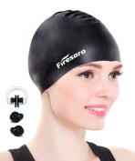 Swim cap,Firesara Premium Silicone Swimming Cap for Short or Medium Hair Tear Resistant Comfortable Fit Increase Speed for Adults Kids Men Women with Nose Clip and Ear Plugs Black