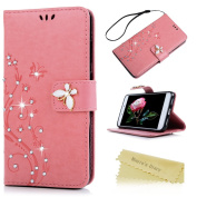 Mavis's Diary P8 Lite 2017 Case ,Huawei P8 Lite Bling Flip Case 2017 Model - Glitter Gems Diamonds Crystal Butterfly Wallet PU Leather Flip Cover [Chic Flower Embossed] Silicone Back Holder Case Magnetic Closure Card Slots & Stand & Wrist Strap - Pink ..