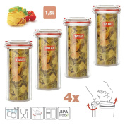 Tatay Pack of 4 Airtight Kitchen in High Quality Plastic Tubs with Safety Lock, Capacity 1L, Measures 9 x 15.5 x 13 cm 1.5 L