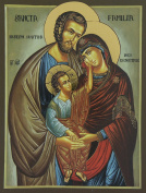 Print on Wood of the Holy Family of Size 45 x 35 cm.