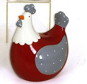 FRENCH DECORATIVE CERAMIC CHICKEN Lili 2 Red body 8.2 cm