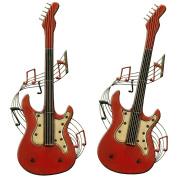 Carrick Design CBWJT Metal Wall Art Guitar, Red