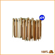 24 X Wooden Dolly Pegs High Quality Clothes Line Washing New Wood Colour Outdoor