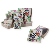 Gift Boxes Set of 8 22,5x22,5x8 cm Gift Box Beige Owl # 1634