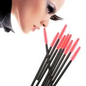 Anself 50Pcs Mini Silicone Head Lash Brush Eyelash Shape Brush One-off Eyelash Curler