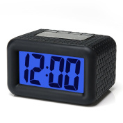 Easy Setting, Plumeet Digital Alarm Clock with Snooze and Nightlight Function, Large LCD Display Travel Alarm Clock Easy to Use, Ascending Sound Alarm & Handheld Sized, Batteries Powered