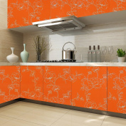KINLO 0,61 x 5M PVC Self-adhesive Wallpaper Stickers Orange Cabinets Kitchen Table Glass Waterproof Ecologist