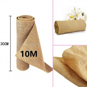 TtS 30cmx10M Hessian Roll Table Runner Rustic Burlap Sewed Edge Vintage Shabby Chic