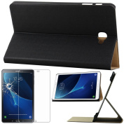 ebestStar – For the for Samsung Galaxy Tab 10.1 2016 T580 T585 (A6) – High Strength SmartCase Case Cover Slim Smart Cover stand case + Tempered Glass Screen Protector Film, Black [precises Outputs