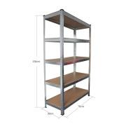 Panana Warehouse 5 Tier Racking Shelf Heavy Duty Steel Garage Shelving Unit 150x70x30cm