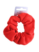 Red Soft Jersey Fabric Hair Scrunchie Bobble Elastic Hair Band by Pritties Accessories