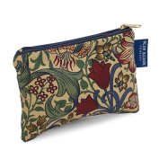 Blue Badge Company Padded Cotton Zip Up Cosmetic Purse with Waterproof Lining, Small William Morris Golden Lily Print