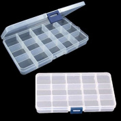 CHENGYIDA 2pcs Compact Clear Plastic Adjustable 15 Compartment Plastic Storage Box Jewellery Tool Container beads Case