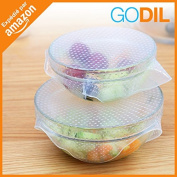 Godil® ☀ Stretchable films ☀ made of food silicone | Lot of 4 | Reusable and expandable | Food storage | Set of sealed lids | Fridge, freezer, microwave