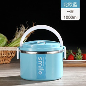 """Food Storage Containers for Kids and Adults, Large capacity stainless steel lunch boxes, two-tier Bento box insulated multilevel lunch box,Nordic blue """"1"""""""