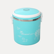 Food Storage Containers for Kids and Adults, Innovative stainless steel insulated lunch box, insulated barrel portable insulated lunch box, portable leak-proof lunch box,Blue, Queen