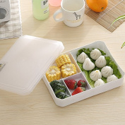 Food Storage Containers for Kids and Adults, Sealed leak-proof grid boxes with lids, plastic rectangular food container microwave lunch box,H, 23*17.6*4.7cm