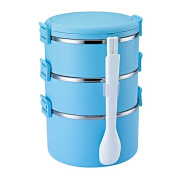 Food Storage Containers for Kids and Adults, 304 stainless steel insulated lunch boxes, 3 sealed leak-proof compartment lunch box, portable multi-layer insulation barrel,Blue