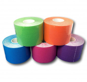 Lisa Care Kinesiology Tape | Elastic Tape Kinesiology Physio Sport Tape | Colour Mix Set of 5 Blue Green Purple Orange Pink | 5cmx5 m per roll Stretch