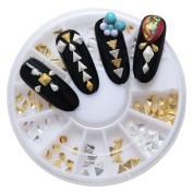 Phantomsky 2 Colours 3D Nail Art Rhinestone Wheel - Alloy Polyhedron - Professional Art Decorations Mix Design Nail Decor Accessories