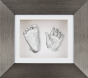 BabyRice New Baby Casting Kit with 15cm x 13cm Brushed Pewter 3D Box Display Frame / White Mount / White Backing / Silver paint