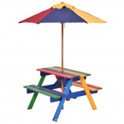 Costway Garden Children Picnic Table Bench W/ Umbrella Outdoor Kids Wooden Rainbow Parasol Set