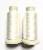 Happyi 2pcs Bonded Nylon Sewing Thread 1500 Yard Size #69 T70 Colour White for Outdoor, Leather, Bag, Shoes, Canvas, Upholstery