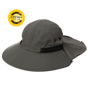 Siggi Unisex Quick Drying UV Protection Outdoor Sun Hat with Neck Flap Cover Wide Brim Mens Bucket/Bush Cap
