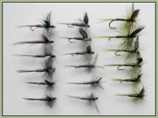 Dry Trout Fishing Flies, 18 Blue Dun, Olive Dun & Iron Blue Dun, Choice of Sizes Available
