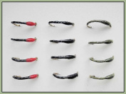 Epoxy Buzzer Trout Fishing Flies, 12 Pack Redhead, Black & Olive Size 10/12,