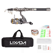 Lixada Telescopic Fishing Rod and Reel Combo Full Kit Spinning Fishing Reel Gear Pole Set with 100M Fishing Line,Fishing Lures ,Fishing Hooks Jig Head, Fishing Carrier Bag Case