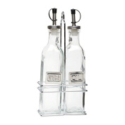Genware NEV-2016 Glass Oil And Vinegar, Square With Chrome Stand