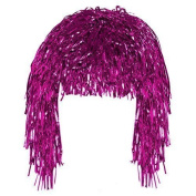 Pink Tinsel Fun Wig Adult Fancy Dress Shiny Metallic Foil Tinsel Wig Costume Accessory