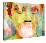 Canvas Print Wall Art – Bubblegum Girl – 100x75cm Stretched Canvas Framed On A Wooden Frame – Contemporary Art Canvas Printing – Hanging Wall Deco Picture By Gallery Of Innovative Art