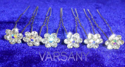 6 Crystal AB Centre Hair Pin Clip Crystal Bling Bobby Flower Bridal Wedding Prom Fashion Accessory